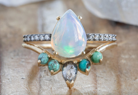 Pear Cut Opal Engagement Ring with Black Gold Pavé Diamond Band