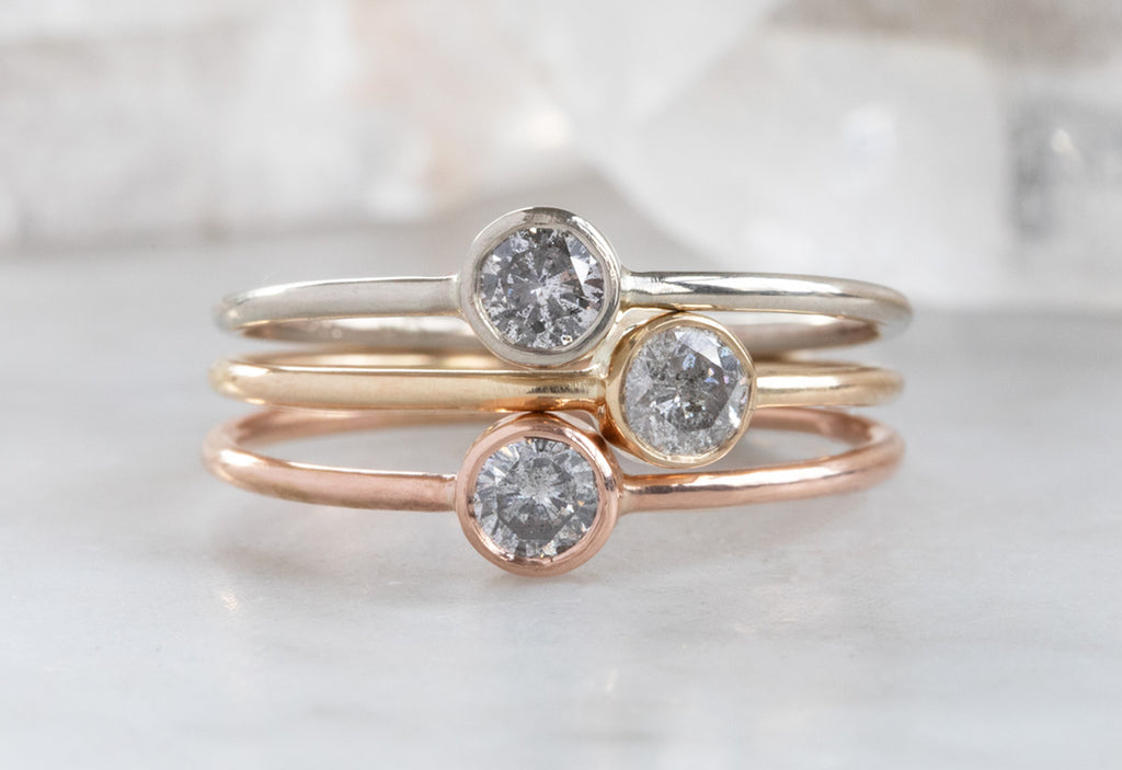 Round Salt + Pepper Diamond Stacking Ring