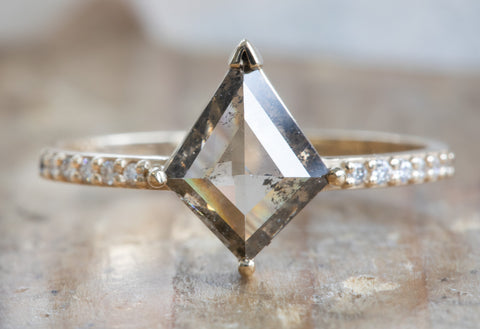 One Of A Kind Kite-Shaped Salt + Pepper Diamond Engagement Ring with Pavé Band