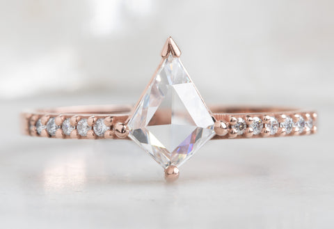 Kite-Shaped White Diamond Engagement Ring with Pavé Band