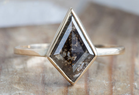 Kite-Shaped Black Diamond Engagement Ring