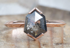 One Of A Kind Black Hexagon Diamond Engagement Ring with Knife Edge Band