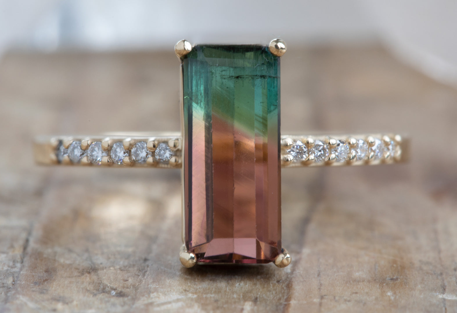 Emerald Cut Watermelon Tourmaline with Pavé Band