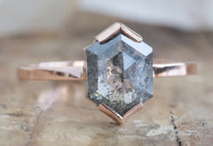 Hexagon Cut Salt + Pepper Diamond Engagement Ring