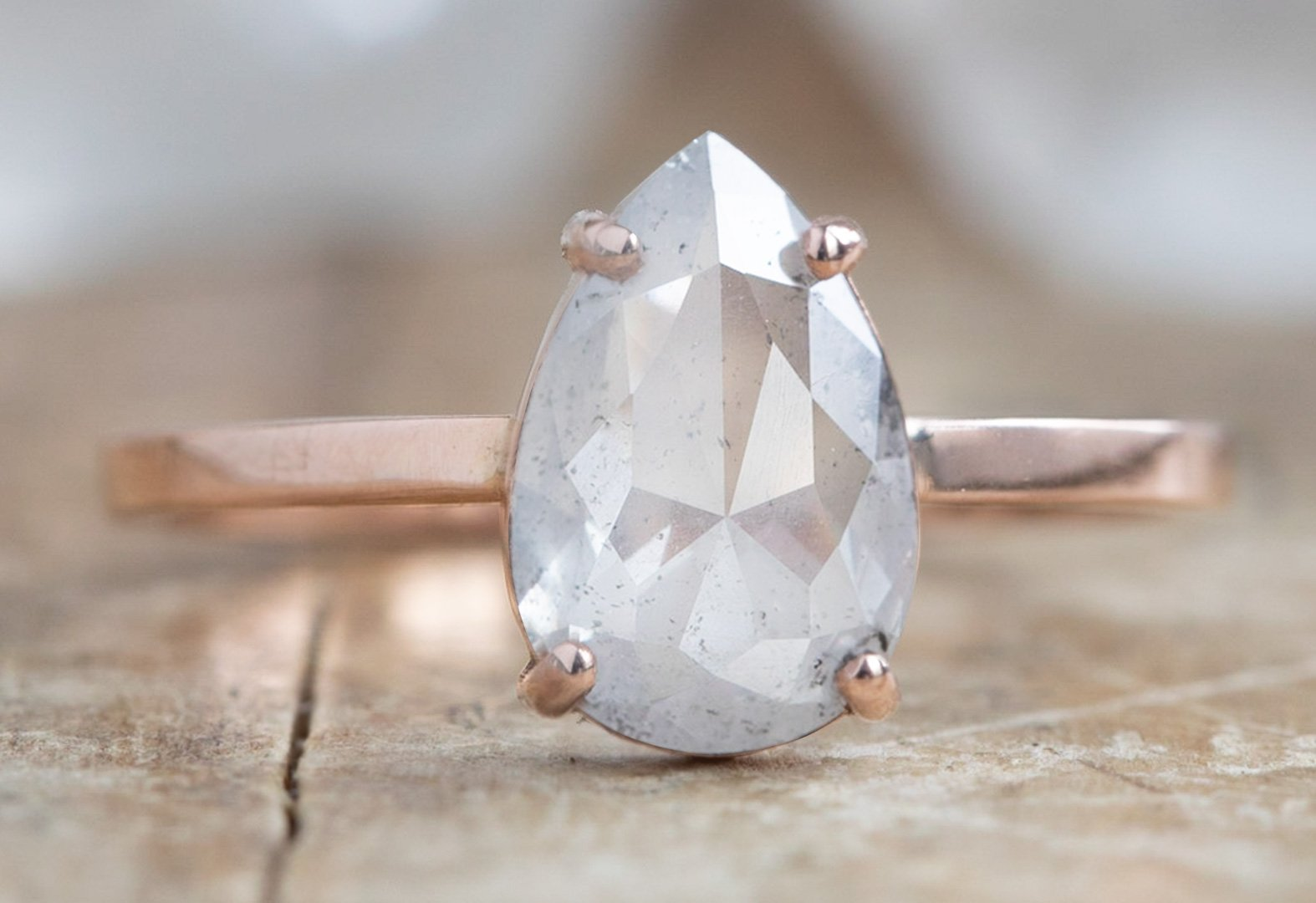 Design Your Own Custom Natural Rose Cut Icy White Diamond Engagement Ring