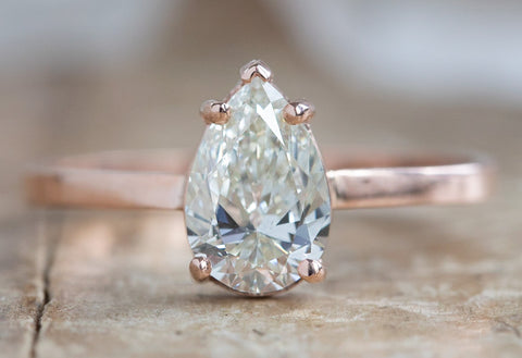 One Of A Kind White Pear Cut Diamond Solitaire Engagement Ring