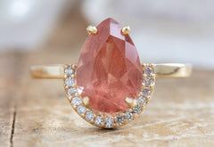 Pear Cut Sunstone Engagement Ring with Diamond Half Halo
