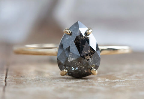 One Of A Kind Rose Cut Black Diamond Engagement Ring