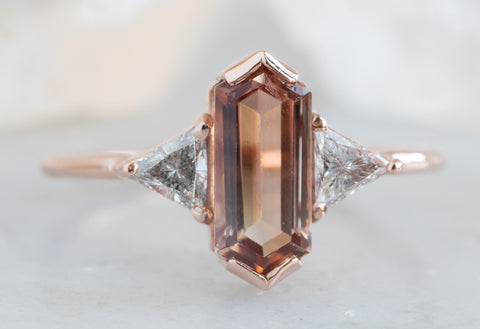 Three Stone Geometric Sunstone + Diamond Engagement Ring