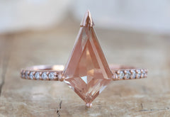 Kite-Shaped Sunstone Engagement Ring with Pavé Band