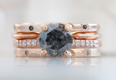 Round Cut Black Diamond Engagement Ring with Pavé Band
