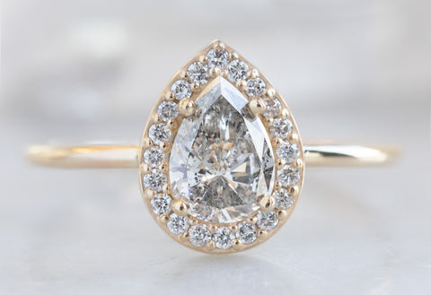One Of A Kind Pear Cut White Diamond Engagement Ring with Halo