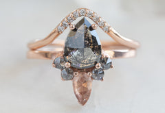 Rose Cut Black Diamond Engagement Ring with Sunstone + Diamond Sunburst