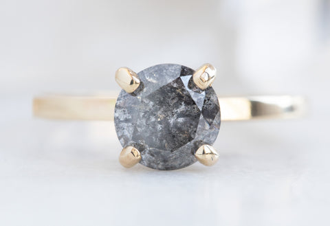The Bryn Ring with a Salt + Pepper Round-Cut Diamond