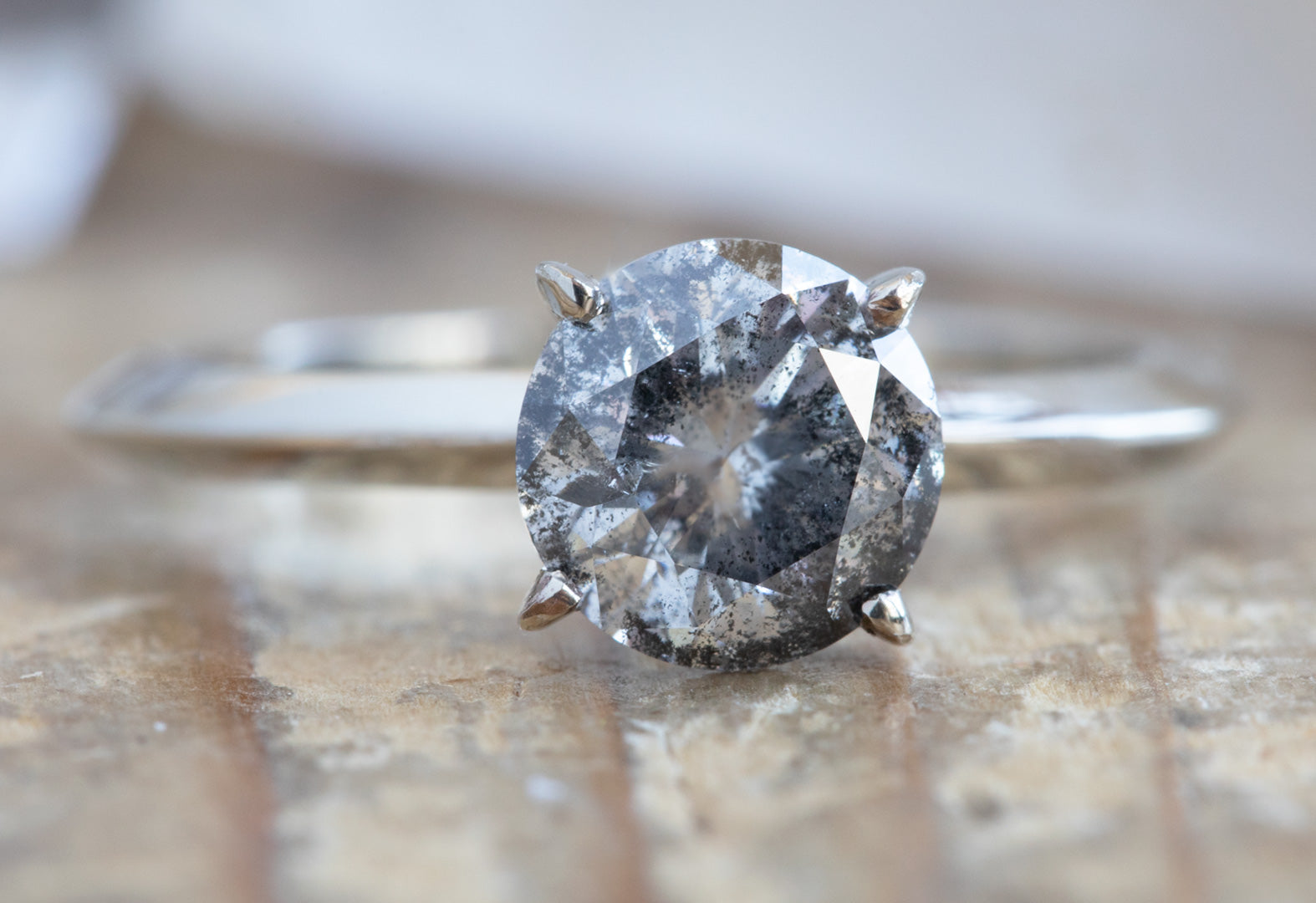 Round Cut Salt + Pepper Diamond Engagement Ring with Knife Edge Band