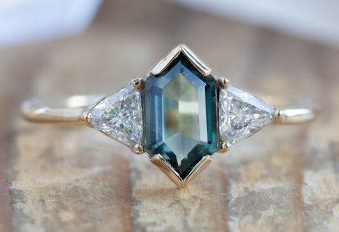 The Jade Ring with a Hexagon Sapphire + Diamonds