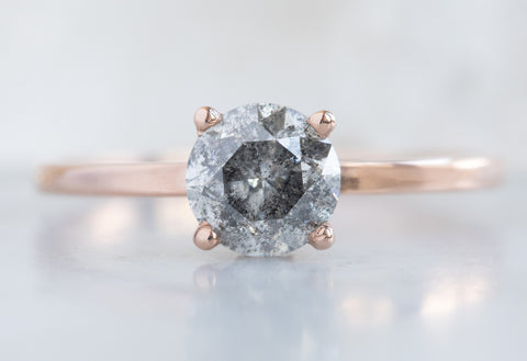 Round Cut Salt + Pepper Diamond Engagement Ring with Pavé Basket Setting