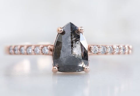Geometric Black Diamond Engagement Ring with Pavé Band