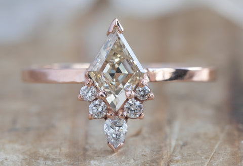 One of a Kind Pink Diamond Engagement Ring with Attached Sunburst