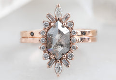 Hexagon Cut Salt + Pepper Diamond Engagement Ring with Marquise Halo