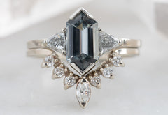 Three Stone Spinel + Diamond Engagement Ring