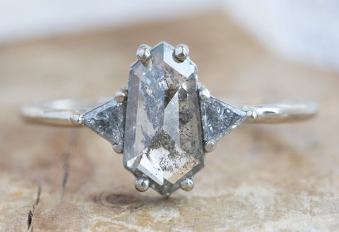 Three Stone Salt + Pepper Hexagon Diamond Engagement Ring