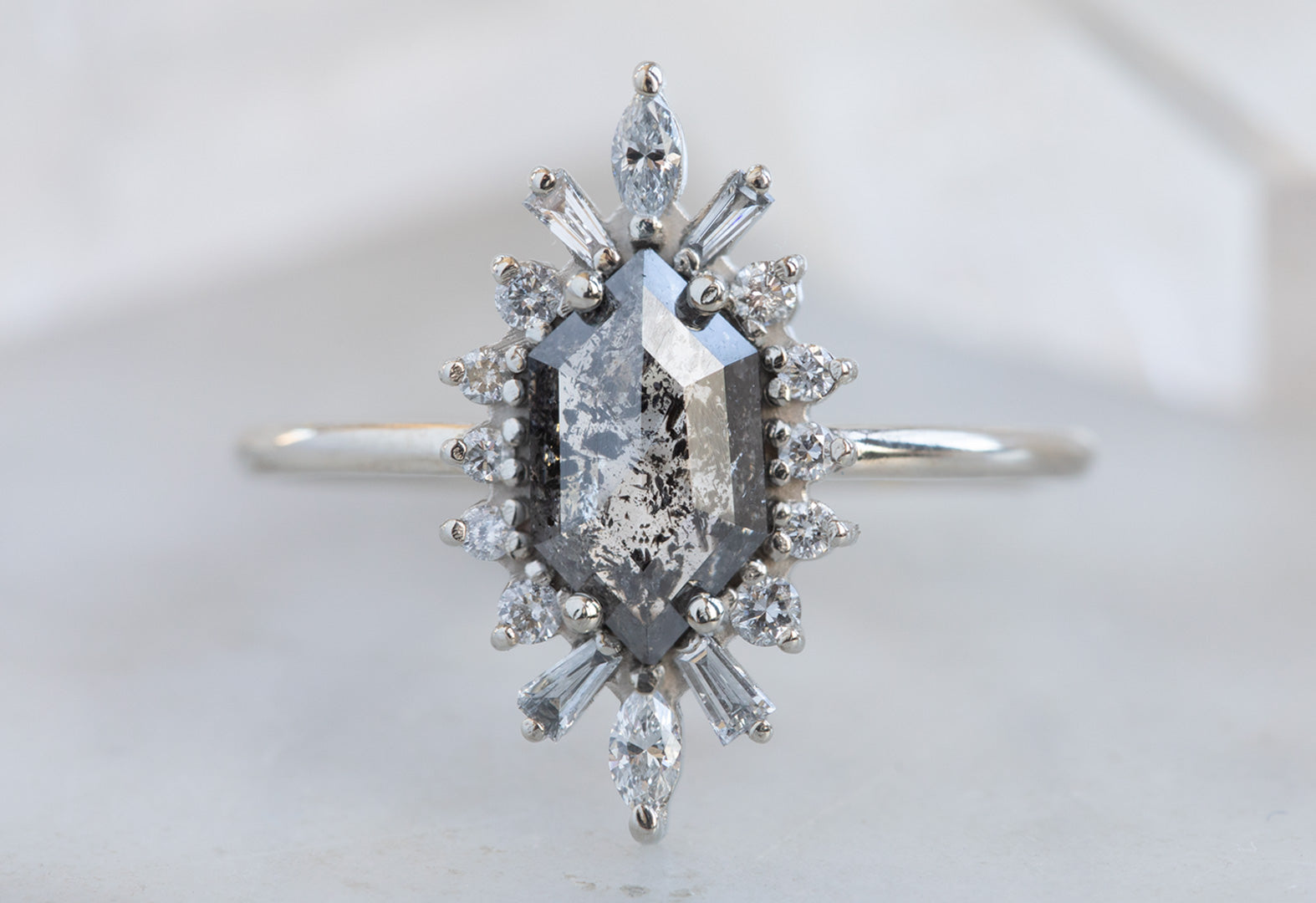 Salt + Pepper Hexagon-Cut Diamond Ring with Vintage Halo