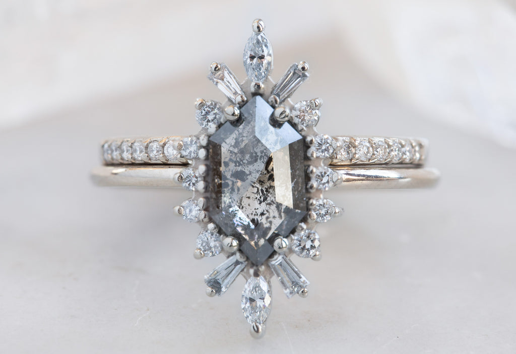 Hexagon Cut Salt + Pepper Diamond Engagement Ring with Vintage Halo