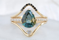 One of a Kind Bicolor Sapphire Engagement Ring with Pavé Diamond Band