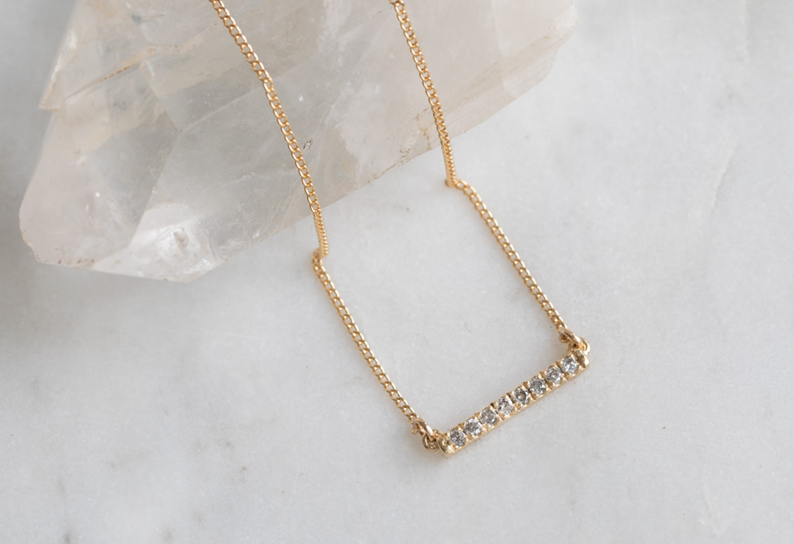 Salt + Pepper Diamond Bar Necklace