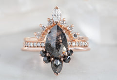 Rose Cut Black Diamond Engagement Ring with Black Diamond Sunburst