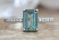 Emerald Cut Sapphire Engagement Ring with Pavé Band