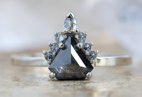 The Aster Ring with a Black Shield Diamond