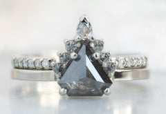 Shield Cut Black Diamond Engagement Ring with Attached Sunburst