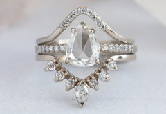 Pear Cut White Diamond Engagement Ring with Pavé Band