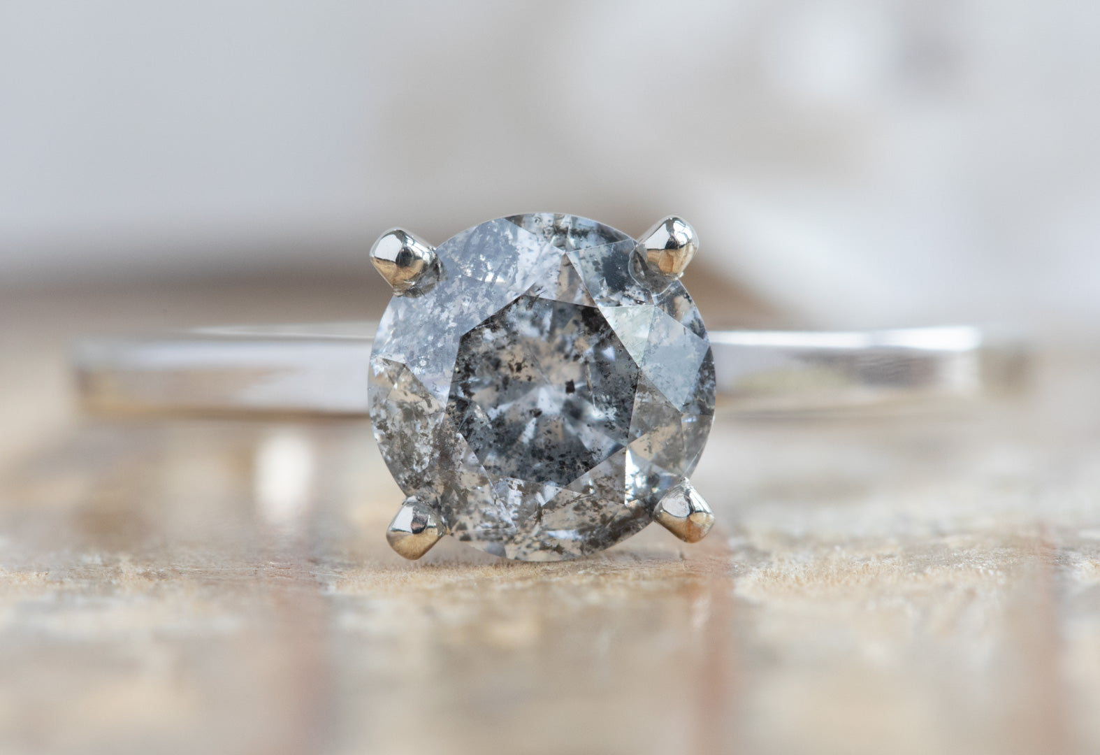 Round Cut Salt + Pepper Diamond Engagement Ring