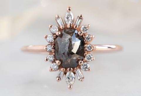 The Camellia Ring with a Black Emerald-Cut Diamond