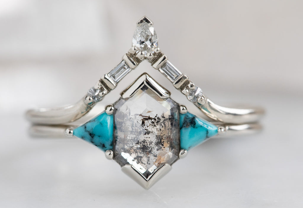 The Turquoise Jade Ring with a Salt + Pepper Diamond