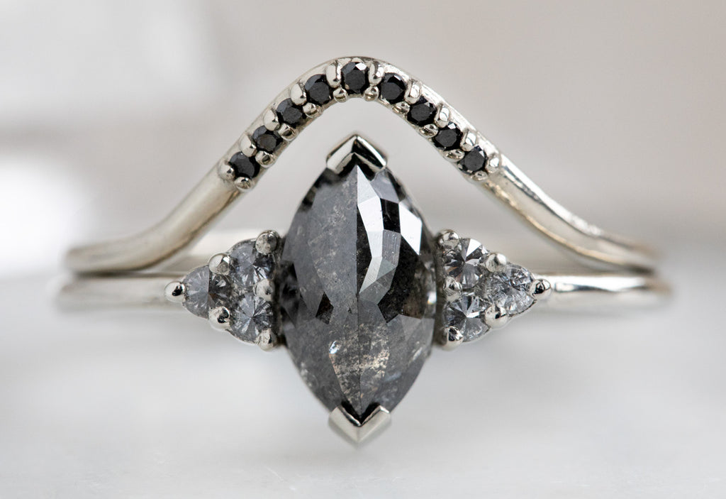 The Ivy Ring with a Marquise Black Diamond