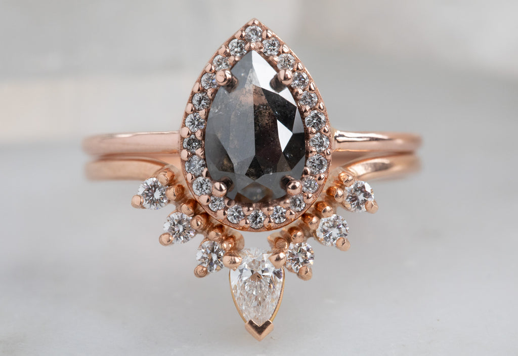 The Dahlia Ring with a Black Rose Cut Diamond