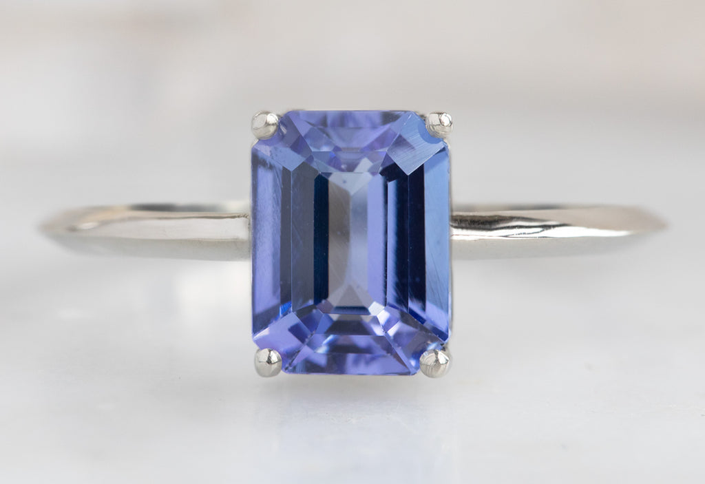 The Bryn Ring with an Emerald Cut Tanzanite