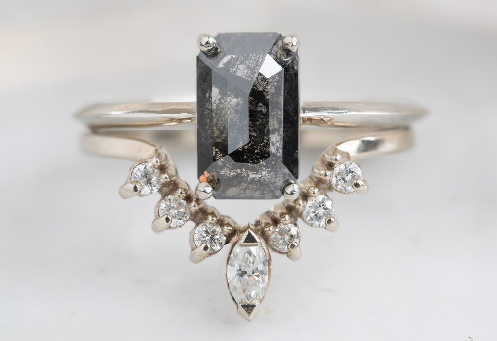 The Bryn Ring with an Emerald Cut Black Diamond