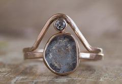 One of a Kind Natural Grey Diamond Slice Ring