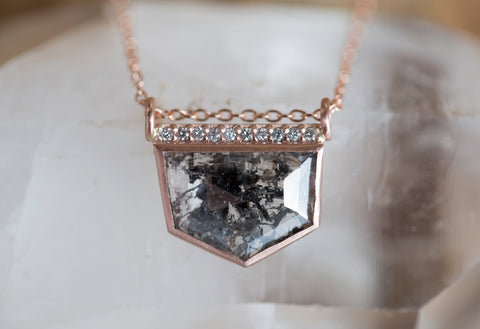 Geometric Black Diamond Talisman Necklace