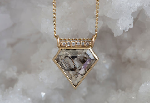 Diamond-Cut Salt + Pepper Diamond Talisman Necklace