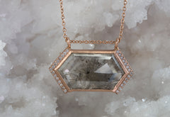 Large Grey Hexagon Diamond Talisman Necklace