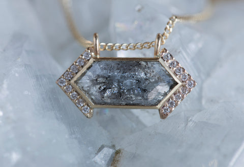 Grey Hexagon Diamond Talisman Necklace