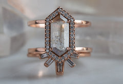 Natural Grey Hexagon Diamond Ring with Pavé Halo + Double Band