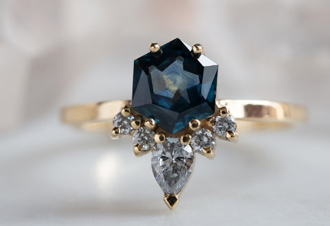 One of a Kind Montana Sapphire Hexagon + Diamond Engagement Ring