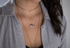 Salt + Pepper Kite Diamond Talisman Necklace